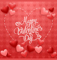 happy valentines day with hearts on red vector image vector image