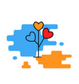 hearts tree blue red and yellow vector image vector image