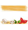 ingredients for pasta tomato champignon basil vector image vector image