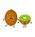 kiwi fruit characters isolated on white vector image vector image