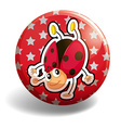 Ladybug on red badge vector image vector image