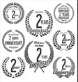 laurel wreaths anniversary collection 2 years vector image vector image