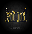 luxury golden King Crown made of thin lines on vector image