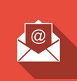 mail and e-mail icon isolated with long shadow vector image vector image