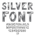metal silver steel grey alphabet isolated on vector image