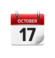 October 17 flat daily calendar icon Date vector image vector image