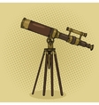 old telescope pop art style vector image vector image