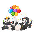 panda group in party theme isolated on white vector image