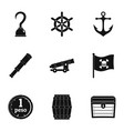 pirates attributes icon set simple style vector image vector image