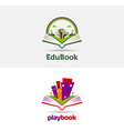 playful book open logo template vector image vector image