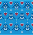 seamless penguin knitting background vector image vector image