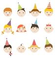 set children with birthday hats vector image vector image