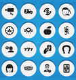 set of 16 editable casino icons includes symbols vector image vector image