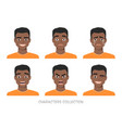 set of emotions and gestures to the young black vector image