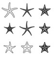 set of starfish icon silhouette icon vector image
