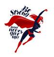 superhero in flight typographic design lettering vector image
