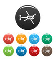 Top view helicopter icons set color