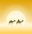 Two Camels and Sun vector image vector image
