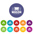 wagon icons set color vector image vector image