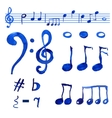 Watercolor blue musical notes set vector image