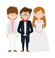 wedding bride and grooms cartoon characters vector image