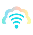 wi fi icon in colored cloud vector image vector image