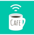 wifi cafe a cup coffee and vector image