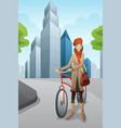 woman with a bike in the city vector image vector image