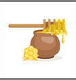 wooden honey dipper and clay pot vector image