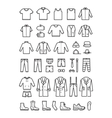 Mens clothing male fashion line icons set vector image