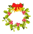 Christmas holly berry wreath icon vector image
