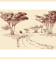 african landscape hand drawing a road in the vector image