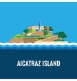 alcatraz island view from sea vector image