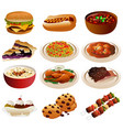 american food icons vector image