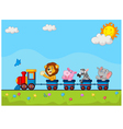 Animals on train vector image vector image