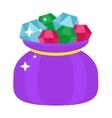 Bag with gems cartoon jewels sack vector image