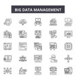 big data management line icons signs set vector image vector image
