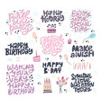 birthday hand drawn greeting cards set vector image vector image