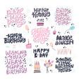 birthday hand drawn greeting cards set vector image