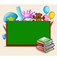 Blackboard and school objects vector image vector image