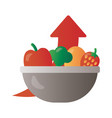 bowl with fruits and vegetables price hike arrow vector image vector image