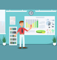 businessman showing growing graphs in office vector image vector image