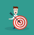 businessman with an arrow hitting the target vector image vector image