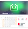 calendar for january 2018 week starts on sunday vector image vector image