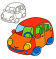 car coloring book page cartoon vector image