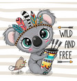 cartoon koala with feathers on a stripes vector image vector image