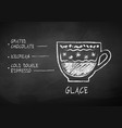 chalk drawn sketch of glace coffee recipe vector image vector image