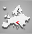 croatia country location within europe 3d map vector image vector image