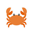 cute crab cartoon icon flat design vector image vector image