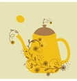 Cute vintage card with teapot and floral branch vector image
